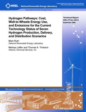 Primary view of object titled 'Hydrogen Pathways: Cost, Well-to-Wheels Energy Use, and Emissions for the Current Technology Status of Seven Hydrogen Production, Delivery, and Distribution Scenarios'.