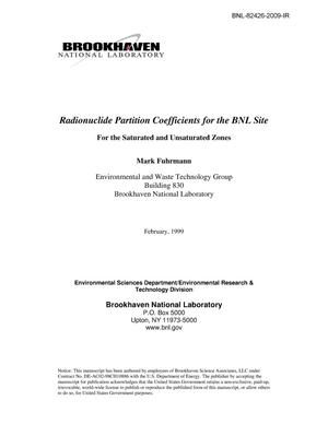 Primary view of object titled 'Radionuclide Coefficients for the BNL Site: For the Saturated and Unsaturated Zones'.
