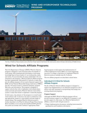 Primary view of object titled 'Wind for Schools Affiliate Programs: Wind and Hydropower Technologies Program (Fact Sheet)'.