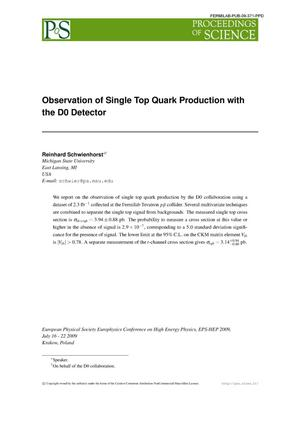 Primary view of object titled 'Observation of Single Top Quark Production with the D0 Detector'.