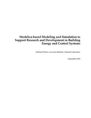 Primary view of object titled 'Modelica-based Modeling and Simulation to Support Research and Development in Building Energy and Control Systems'.