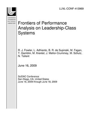 Primary view of object titled 'Frontiers of Performance Analysis on Leadership-Class Systems'.
