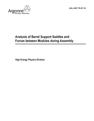 Primary view of object titled 'Analysis of barrel support saddles and forces between modules during assembly.'.