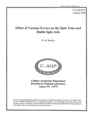 Primary view of object titled 'Effect of Various Errors on the Spin Tune and Stable Spin Axis'.