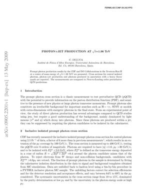 Primary view of object titled 'Photon + Jet production at sqrt{s}=1.96 TeV'.