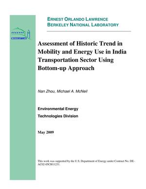 Primary view of object titled 'Assessment of Historic Trend in Mobility and Energy Use in India Transportation Sector Using Bottom-up Approach'.