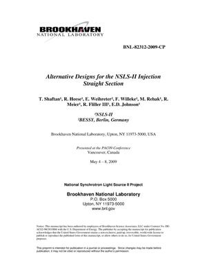Primary view of object titled 'Alternative Designs for the NSLS-II Injection Straight Section'.