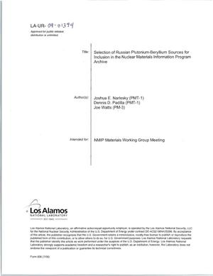 Primary view of object titled 'Selection of Russian Plutonium Beryllium Sources for Inclusion in the Nuclear Mateirals Information Program Archive'.