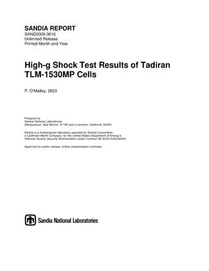 Primary view of object titled 'High-g shock test results of Tadiran TLM-1530MP cells.'.