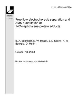 Primary view of object titled 'Free flow electrophoresis separation and AMS quantitation of 14C-naphthalene-protein adducts'.
