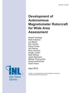 Primary view of object titled 'Development of autonomous magnetometer rotorcraft for wide area assessment'.