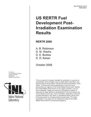 Primary view of object titled 'US RERTR FUEL DEVELOPMENT POST IRRADIATION EXAMINATION RESULTS'.