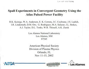 Primary view of object titled 'Spall experiments in convergent geometry using the atlas pulsed power facility.'.