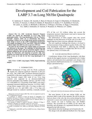 Primary view of object titled 'Development and coil fabrication for the LARP 3.7-m long Nb3Sn quadruple'.