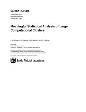 Primary view of object titled 'Meaningful statistical analysis of large computational clusters.'.