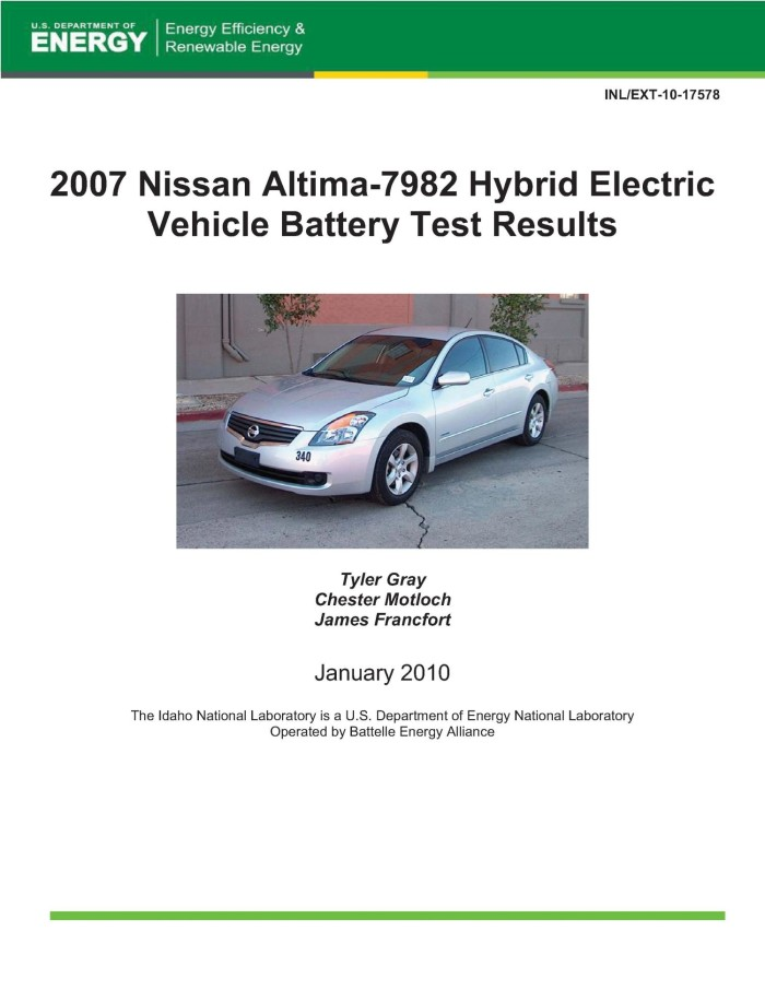 2007 Nissan Altima 7982 Hybrid Electric Vehicle Battery Test Results