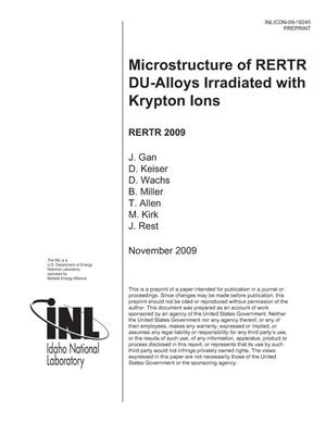 Primary view of object titled 'Microstructure of RERTR DU-Alloys Irradiated with Krypton Ions'.