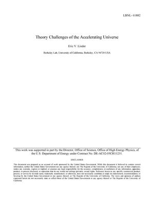 Primary view of object titled 'Theory Challenges of the Accelerating Universe'.