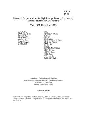 Primary view of object titled 'Research Opportunities in High Energy Density Laboratory Plasmas on the NDCX-II Facility'.
