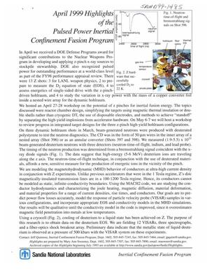 Primary view of object titled 'April 1999 highlights of the pulsed power inertial confinement fusion program.'.