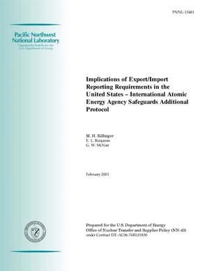 Primary view of object titled 'Implications of Export/Import Reporting Requirements in the United States - International Atomic Energy Agency Safeguards Additional Protocol'.