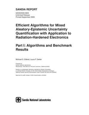 Primary view of object titled 'Efficient algorithms for mixed aleatory-epistemic uncertainty quantification with application to radiation-hardened electronics. Part I, algorithms and benchmark results.'.