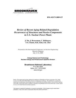 Primary view of object titled 'Review of Recent Aging-Related Degradation Occurrences of Structures and Passive Components in U.S. Nuclear Power Plants'.
