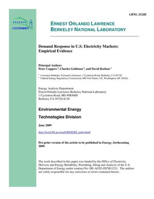 Primary view of object titled 'Demand Response in U.S. Electricity Markets: Empirical Evidence'.