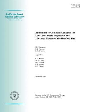 Primary view of object titled 'Addendum to Composite Analysis for Low-Level Waste Disposal in the 200 Area Plateau of the Hanford Site'.