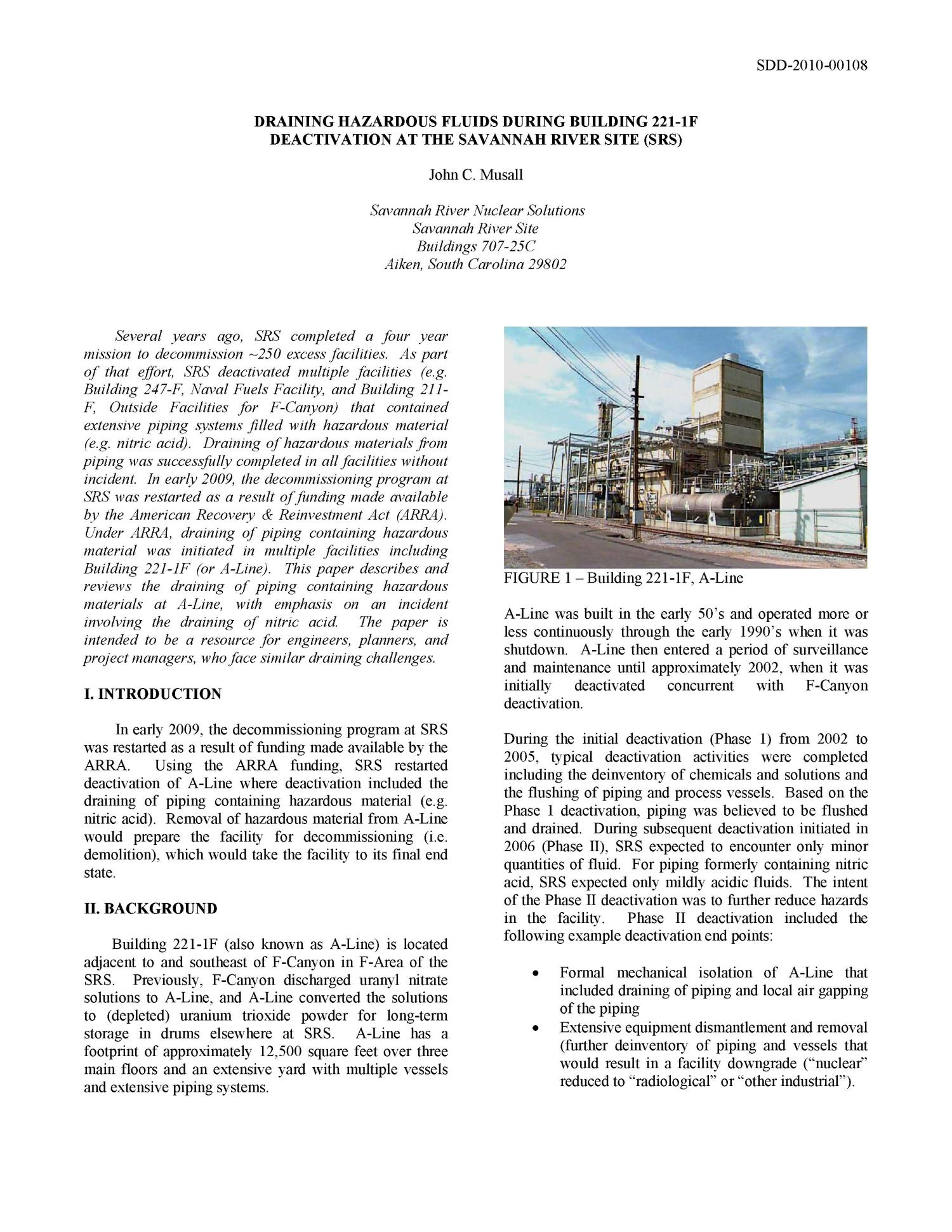 DRAINING HAZARDOUS FLUIDS DURING BUILDING 221-1F DEACTIVATION AT THE SAVANNAH RIVER SITE                                                                                                      [Sequence #]: 2 of 5