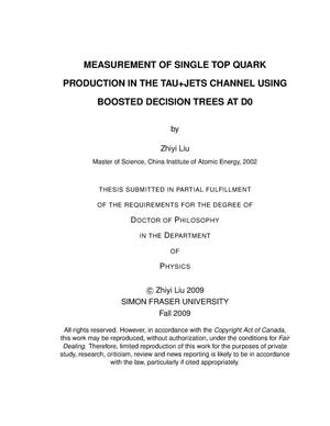 Primary view of object titled 'Measurement of single top quark production in the tau+jets channnel using boosted decision trees at D0'.