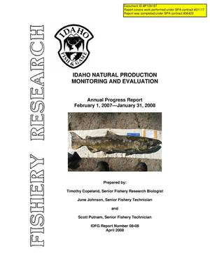 Primary view of object titled 'Idaho Natural Production Monitoring and Evaluation : Annual Progress Report February 1, 2007 - January 31, 2008.'.