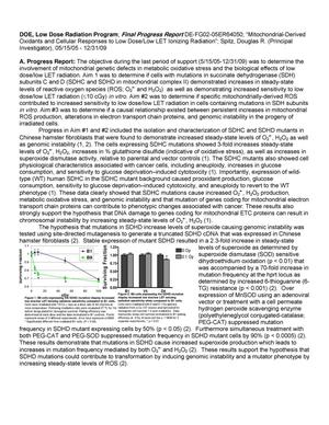 Primary view of object titled 'Mitochondrial-Derived Oxidants and Cellular Responses to Low Dose/Low LET Ionizing Radiation'.