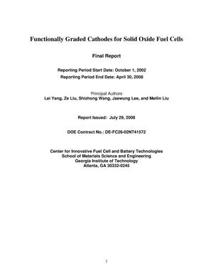 Primary view of object titled 'Functionally Graded Cathodes for Solid Oxide Fuel Cells'.