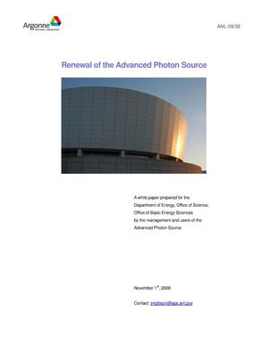 Primary view of object titled 'Renewal of the Advanced Photon Source.'.