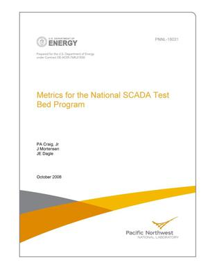 Primary view of object titled 'Metrics for the National SCADA Test Bed Program'.