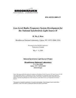 Primary view of object titled 'Low-Level Radio Frequency System Development for the National Synchrotron Light Source II'.