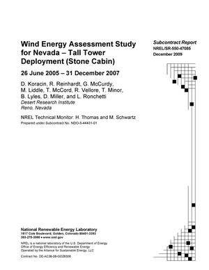Wind Energy Assessment Study for Nevada -- Tall Tower Deployment