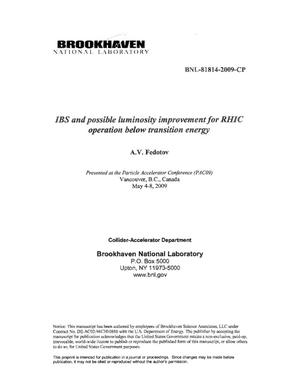 Primary view of object titled 'IBS and possible luminosity improvement for RHIC operation below transition energy'.