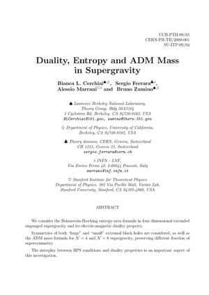Primary view of object titled 'Duality, Entropy and ADM Mass in Supergravity'.