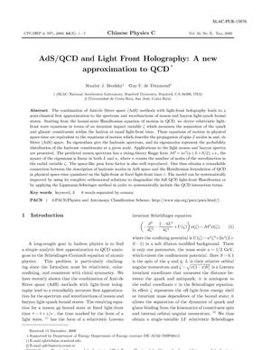 Primary view of object titled 'AdS/QCD and Light Front Holography: A New Approximation to QCD'.