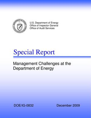 "Primary view of object titled 'INFORMATION: Special Report on ""Management Challenges at the Department of Energy""'."