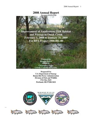 Primary view of object titled 'Improvement of Anadromous Fish Habitat and Passage in Omak Creek, 2008 Annual Report : February 1, 2008 to January 31, 2009.'.