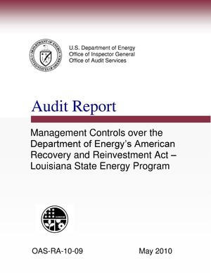 "Primary view of object titled 'Audit Report on ""Management Controls over the Department of Energy's American Recovery and Reinvestment Act - Louisiana State Energy Program""'."