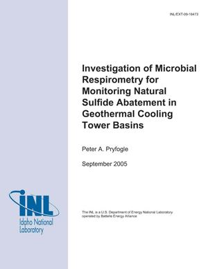 Primary view of object titled 'Investigation of Microbial Respirometry for Monitoring Natural Sulfide Abatement in Geothermal Cooling Tower Basins'.