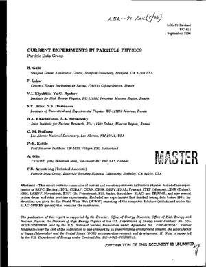 Primary view of object titled 'Current Experiments in Particle Physics (September 1996)'.