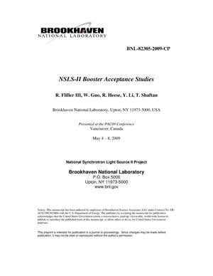 Primary view of object titled 'NSLS-II Booster Acceptance Studies'.