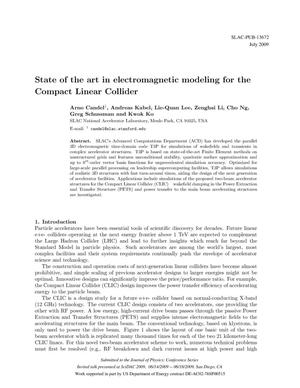 Primary view of object titled 'State of the art in electromagnetic modeling for the Compact Linear Collider'.