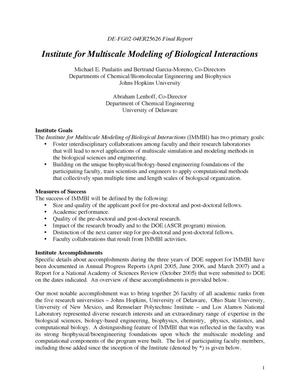 Primary view of object titled 'Institute for Multiscale Modeling of Biological Interactions'.