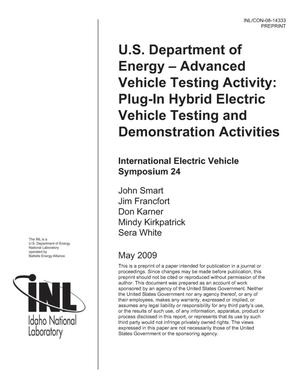Primary view of object titled 'U.S. Department of Energy -- Advanced Vehicle Testing Activity: Plug-in Hybrid Electric Vehicle Testing and Demonstration Activities'.